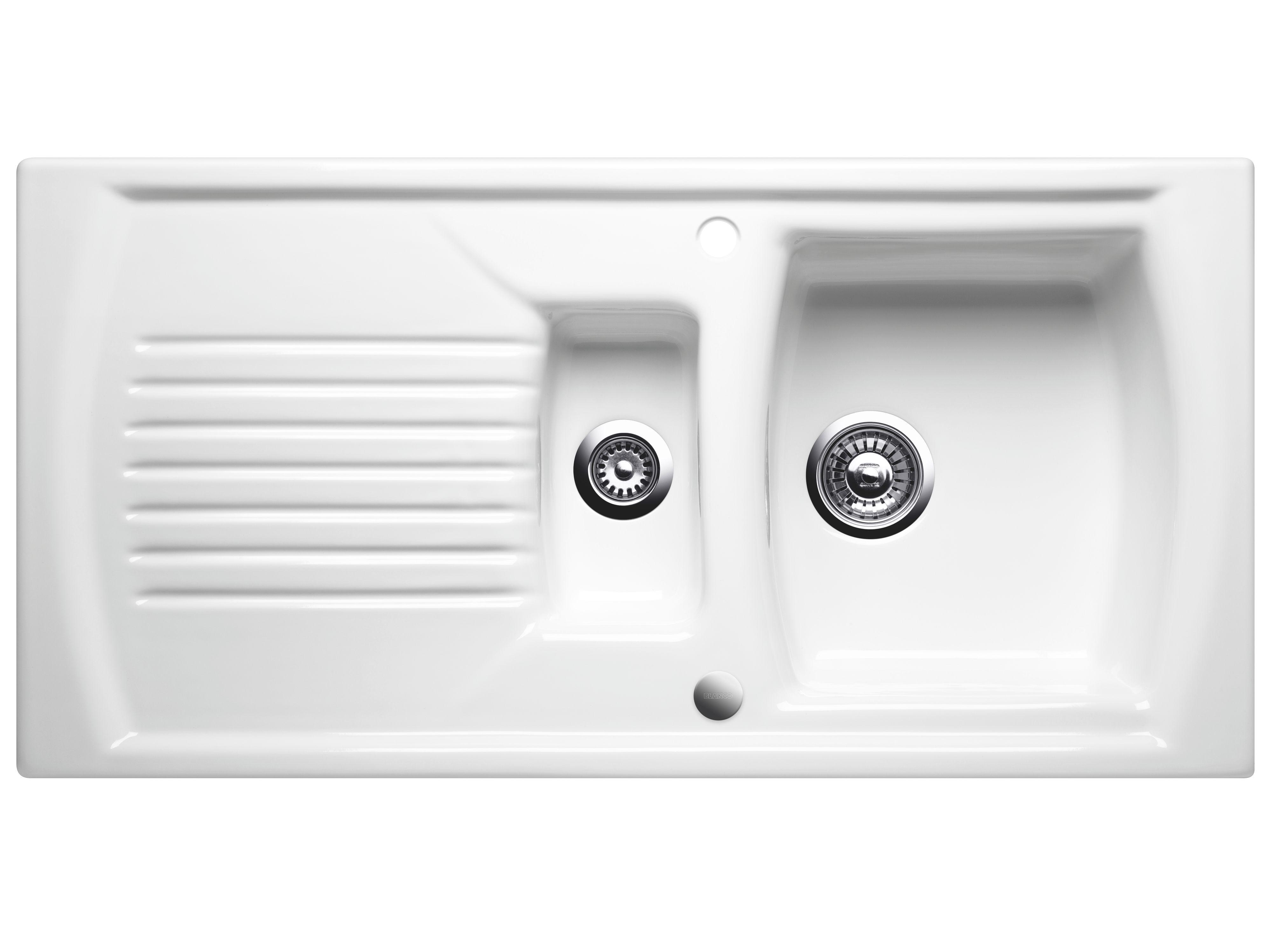 Blanco Setura 1.5 Bowl Crystal White Ceramic Sink with Reversible ...