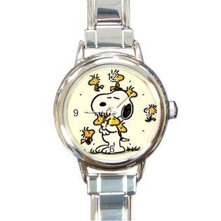 Carson's Collectibles Round Italian Charm Watch of Art Deco Snoopy with Woodstock & Friends (Charlie Brown, Peanuts) at Sears.com