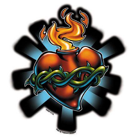 Sacred Heart Tattoo Sticker