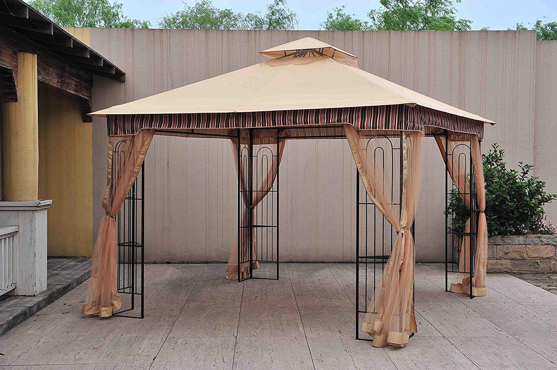 Amazon com sunjoy 10x 10 lansing soft top gazebo with netting garden outdoor