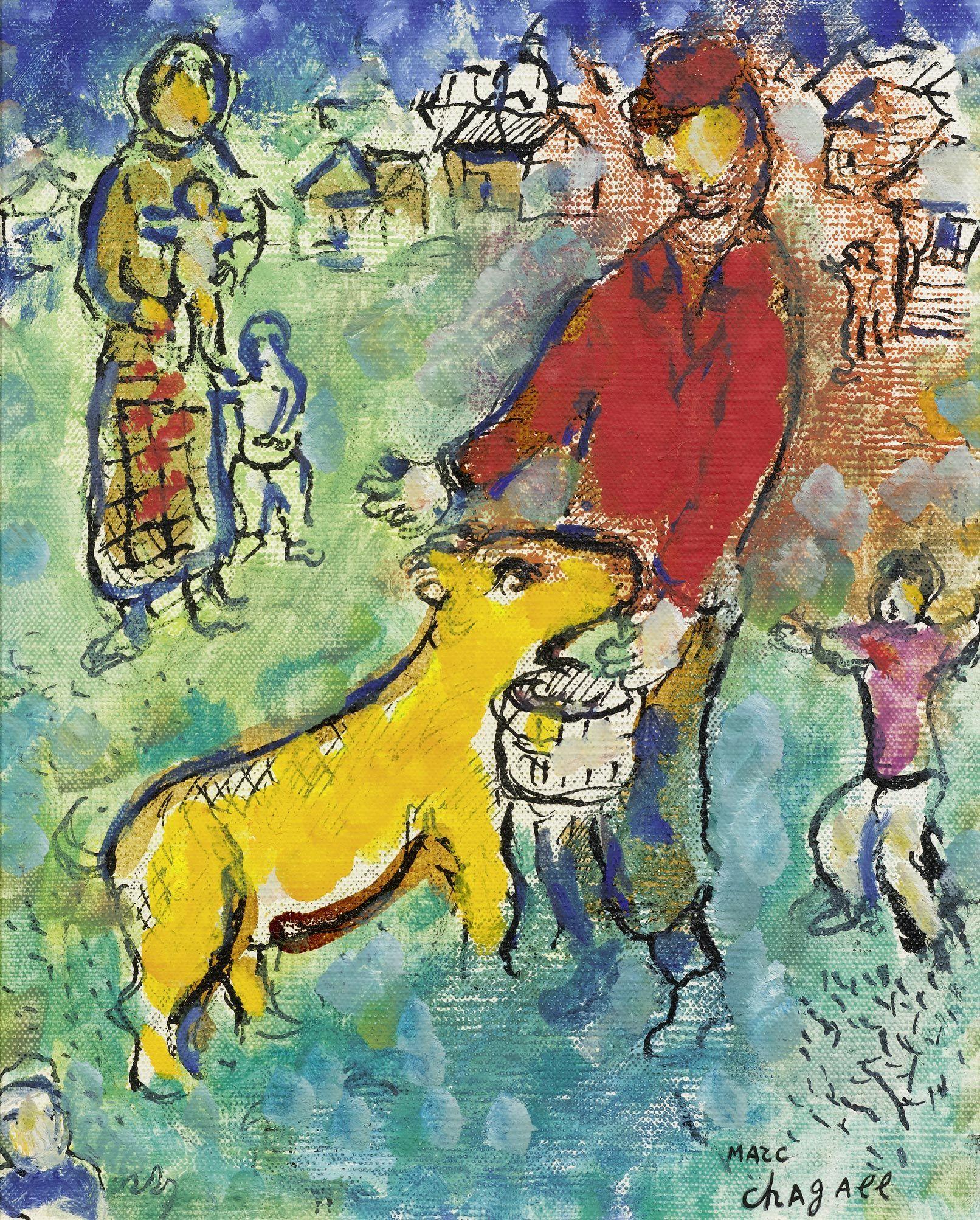 """Marc Chagall  (Witebsk 1887 - 1985 Saint-Paul-de-Vence), """"Le paysan en rouge"""", 1975-78"""