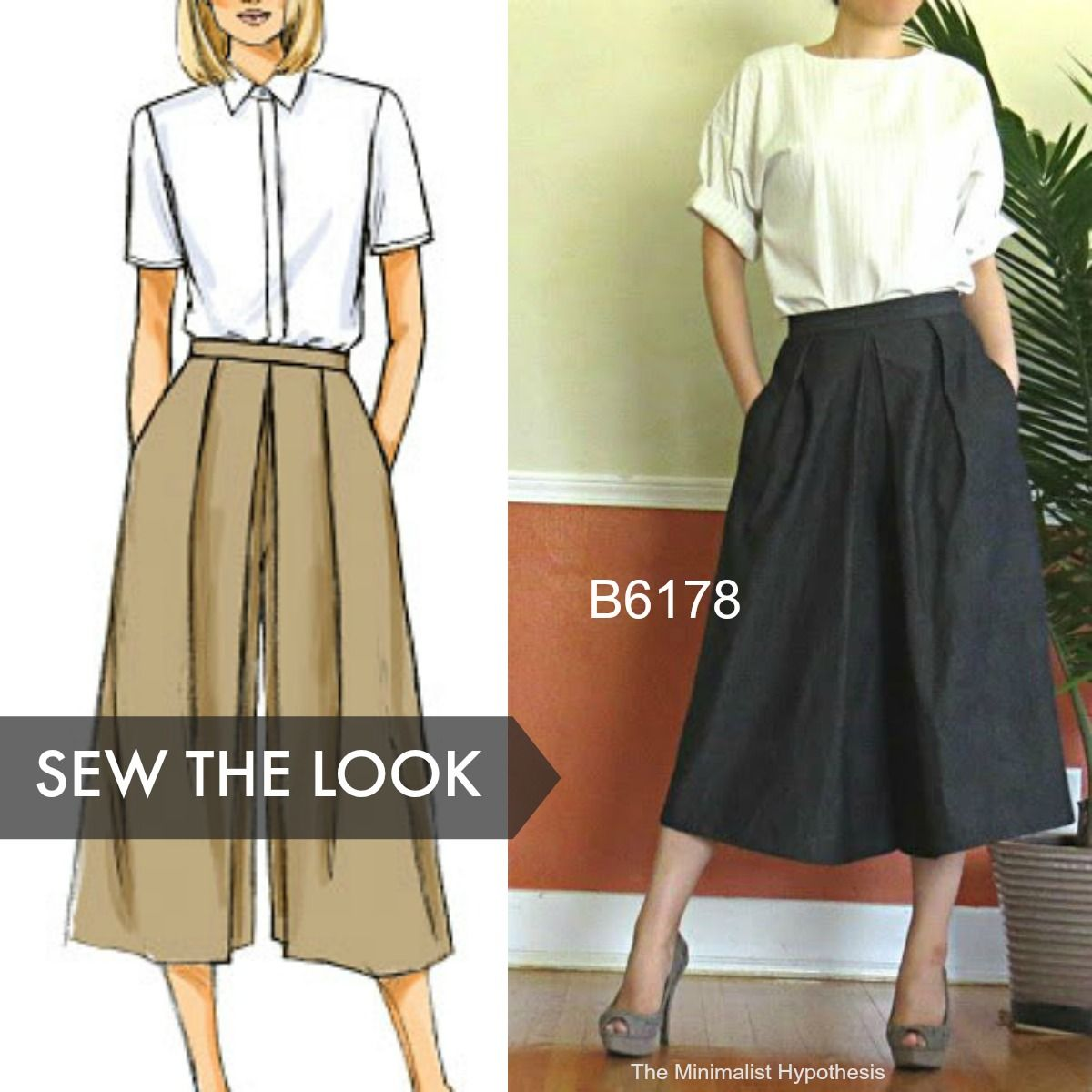 b683d74ad Sew the Look: Think of culottes as an alternative to a midi skirt.  Butterick B6178 culottes pattern.