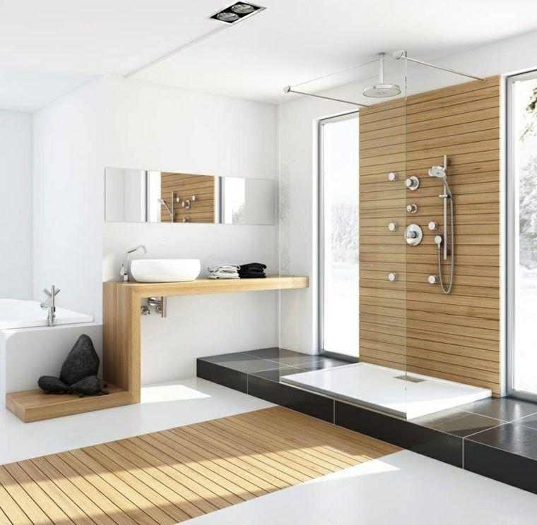imagenes banos modernos amplio losas negras madera ideas - salle de bain moderne avec douche italienne