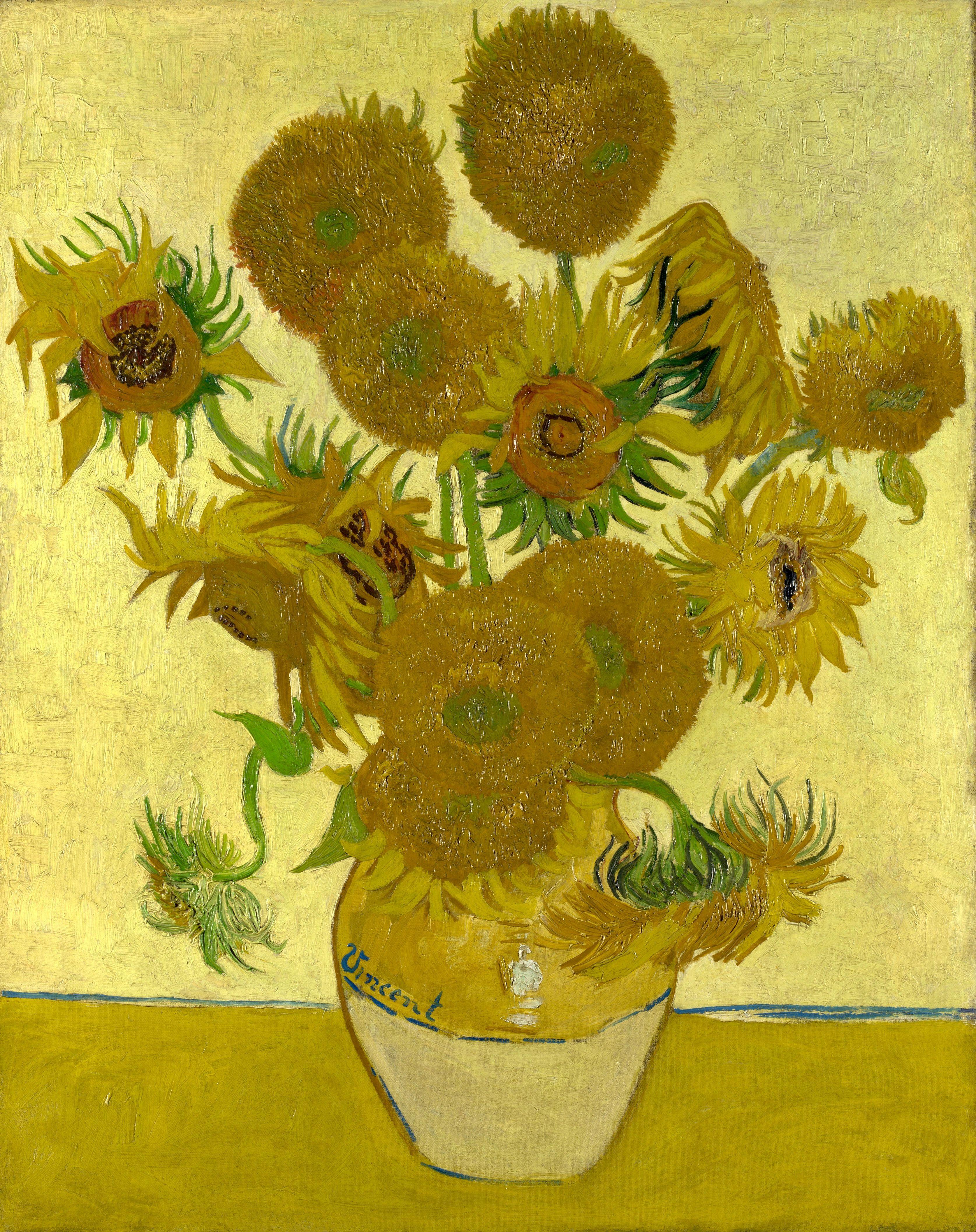 English Still Life Vase With Fourteen Sunflowers Deutsch