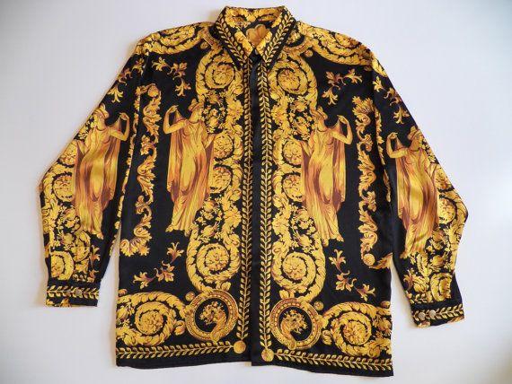 43d54fae2de7 versace style mens large 100% silk shirt vintage rare por style1000 ...