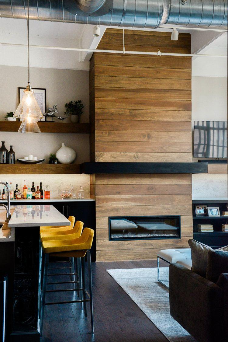 Modern Fireplace Design Pop Of Color Modern Loft Loft Living Fireplace Design