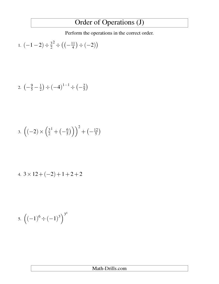 Order of Operations with Fractions -- Five Steps Including Negative ...