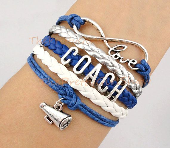 Infinity wish, Love, Coach, Cheer, Cheerleading, Charm Bracelet in Silver, Royal Blue, Silver, White, Customize, Friendship, Bridesmaid gift on Etsy, $5.99
