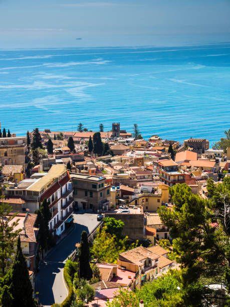 Italy Sicily Castelmola View Above Taormina To The Bay Of