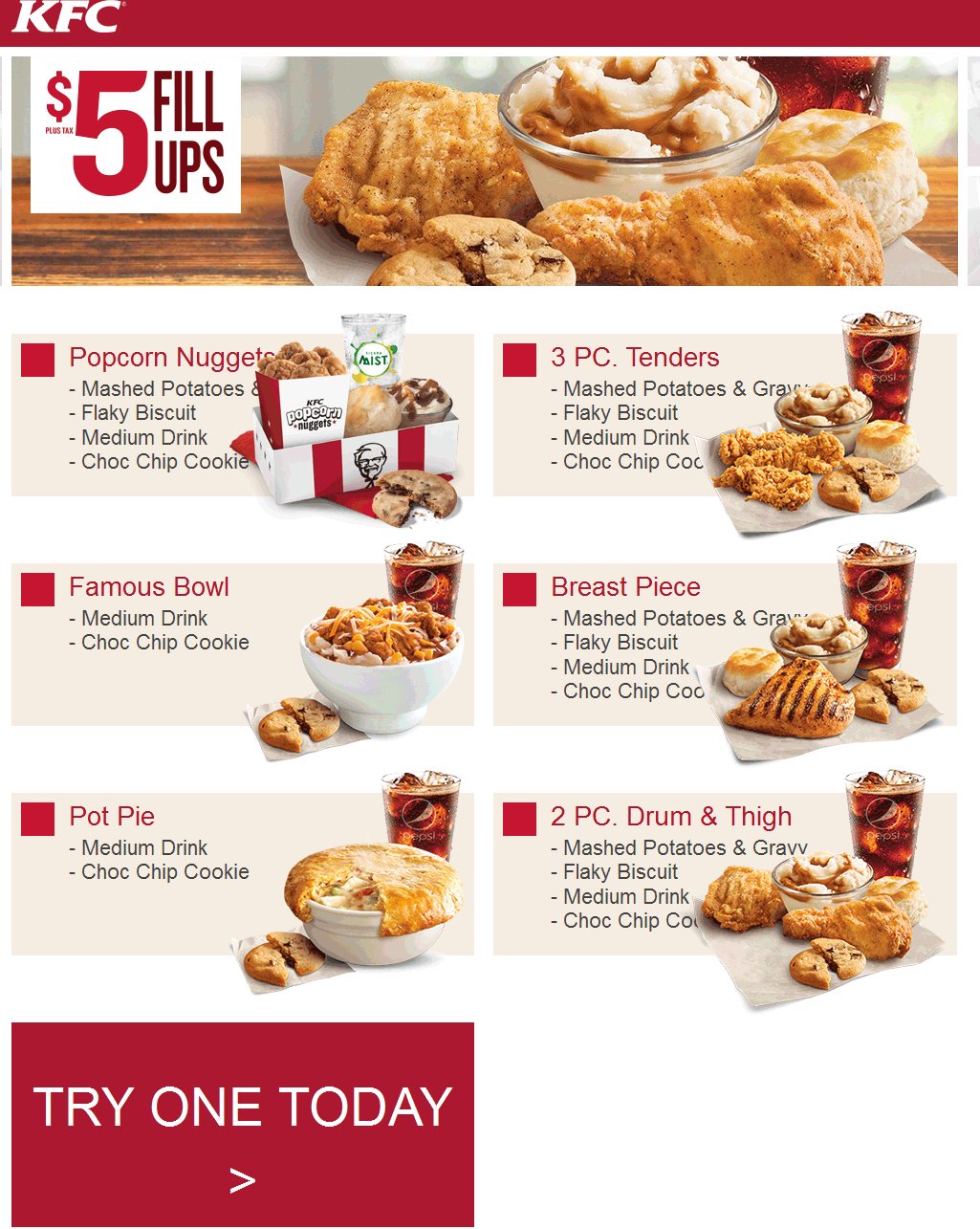 Various 5 meals going on at KFC Free printable coupons