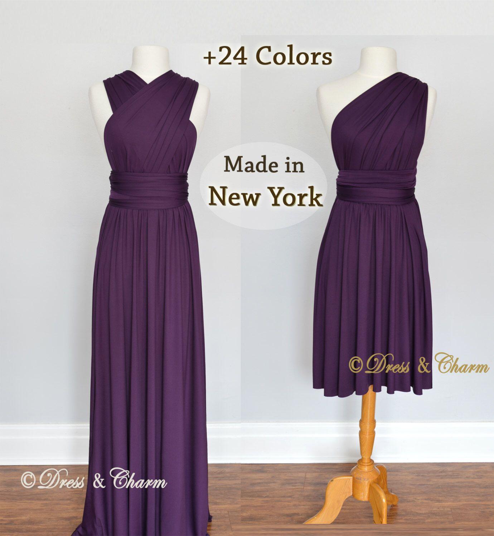 Dark Purple Bridesmaid Dresses, gown convertible dress, infinity ...