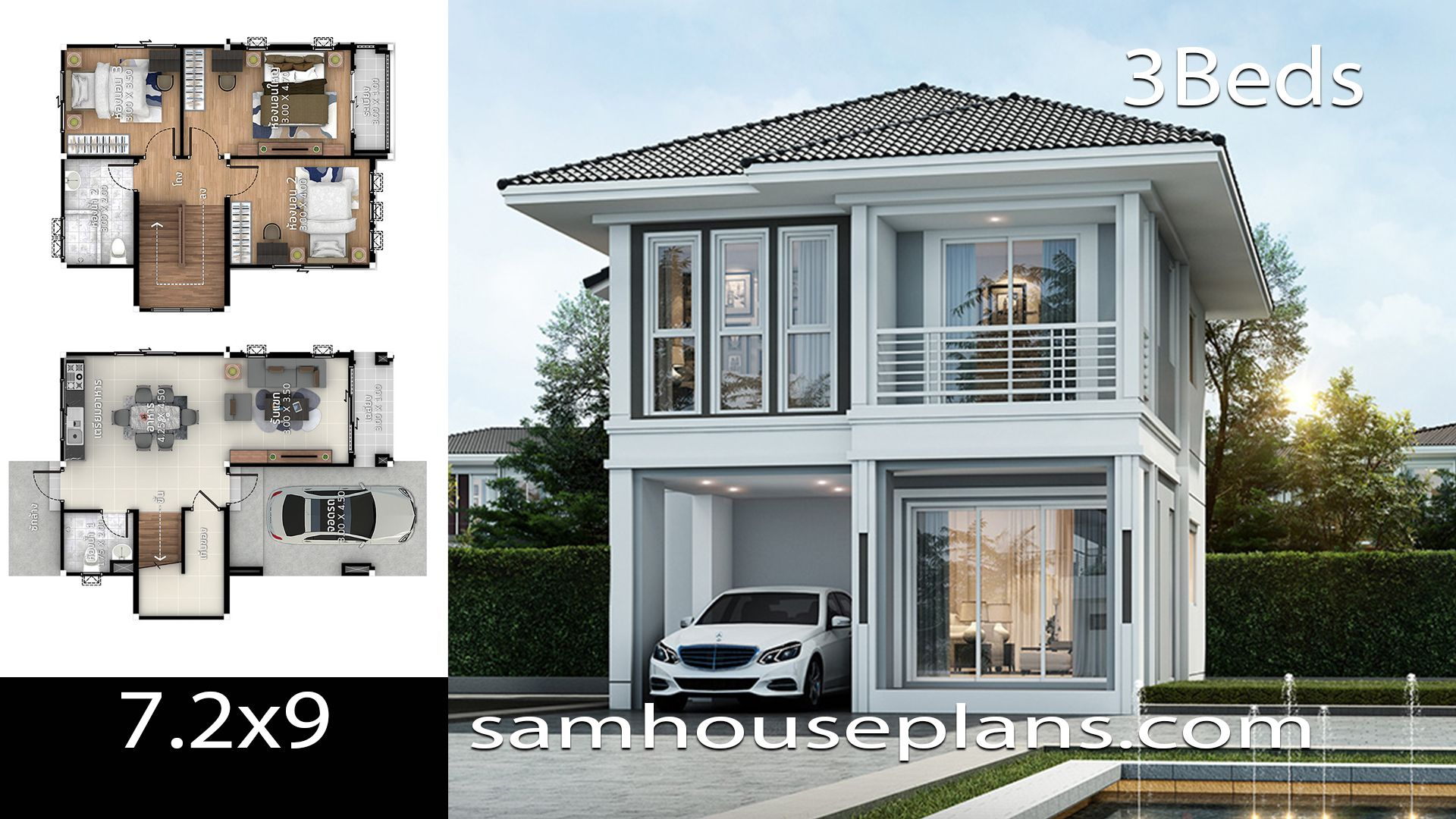 House Plans Idea 7 2x9 With 3 Bedrooms Sam House Plans In 2020 Bungalow House Design Minimalist House Design House Plans