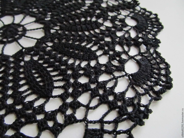 Купить Салфетка ажурная черная 33 см - черный, ажурная салфетка, салфетка, салфетка крючком