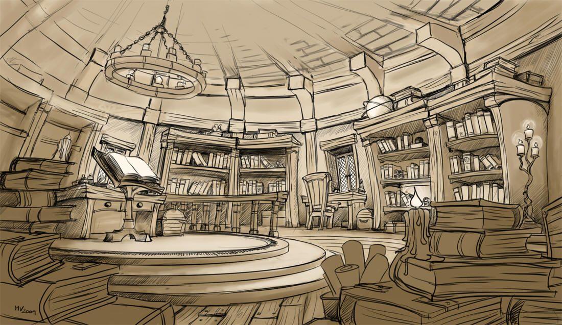 Картинка библиотека нарисованная