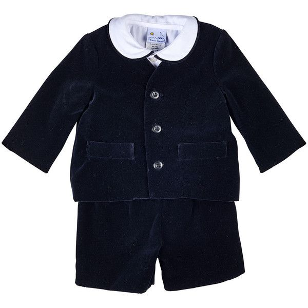 Florence Eiseman Velour Eton Suit w/ Shirt (495 BRL) ❤ liked on Polyvore featuring black and kids apparel pants