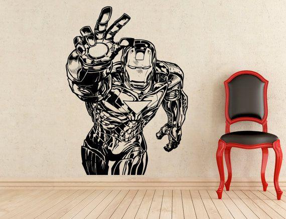 Iron Man adesivi Tony Stark parete vinile adesivi casa affreschi degli interni arte decorazione (160z)