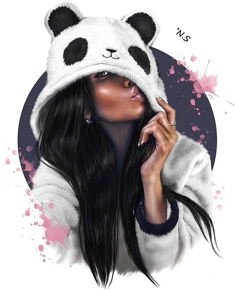 Panda Girl Digita Art Girl Drawing Et Cartoon Black Girl Magic Art Black Girl Art Girly Drawings