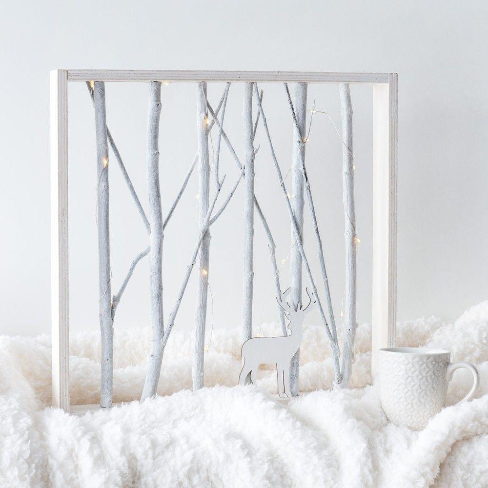 Tableau Lumineux Cerf En Peuplier Blanchi 43×43 Maisons Du Monde