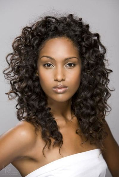 Long curly hairstyle with volume