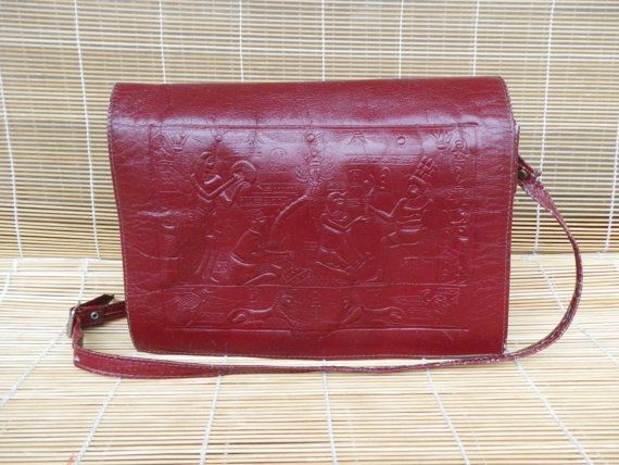 Vintage Lady's Dark Red Leather Shoulder Strap by AllTheVintage