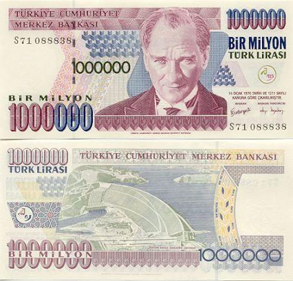 1 Million Lira With Mustafa Kemal Ataturk And The Hydroelectric Dam Near Sanliurfa Adiyaman At One Time I Had Over Bank Notes Turkish Lira Banknotes Money