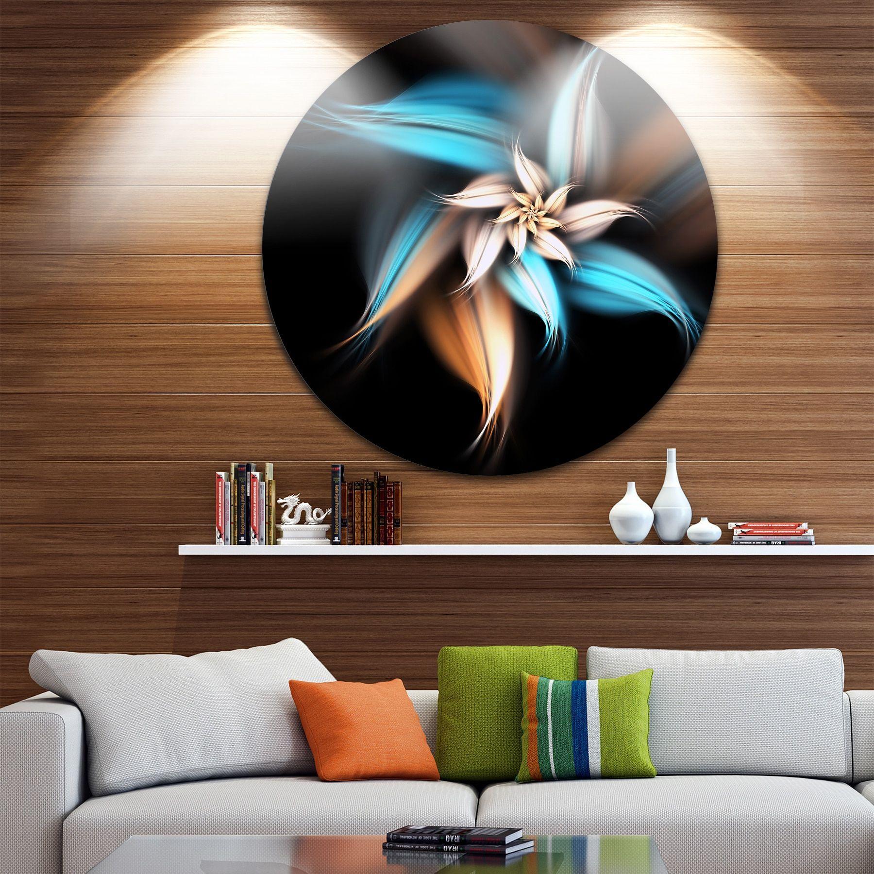 Designart ublue brown digital art fractal floweru floral large disc