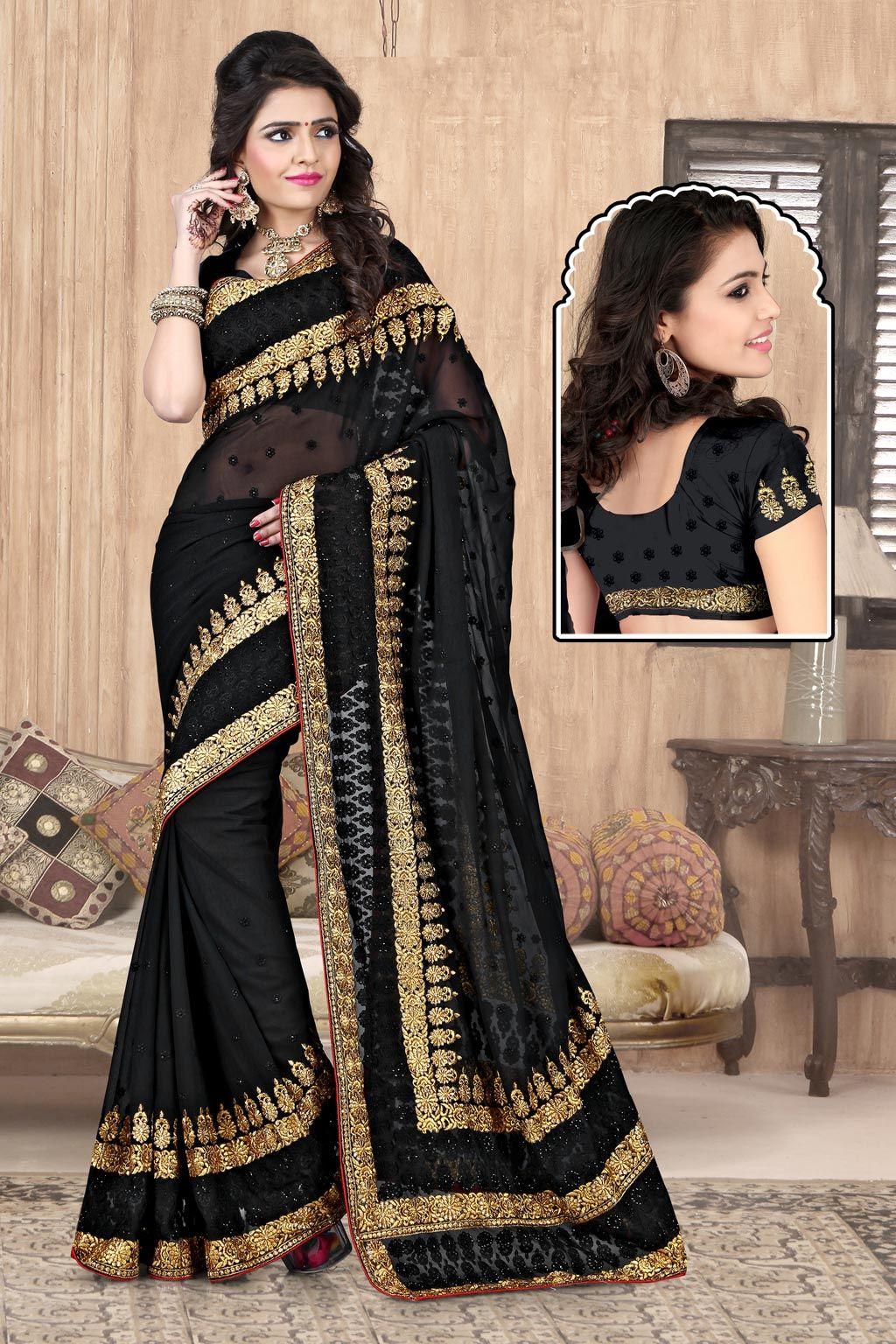 Black Georgette Party Wear Saree 63910 | Party wear sarees ...