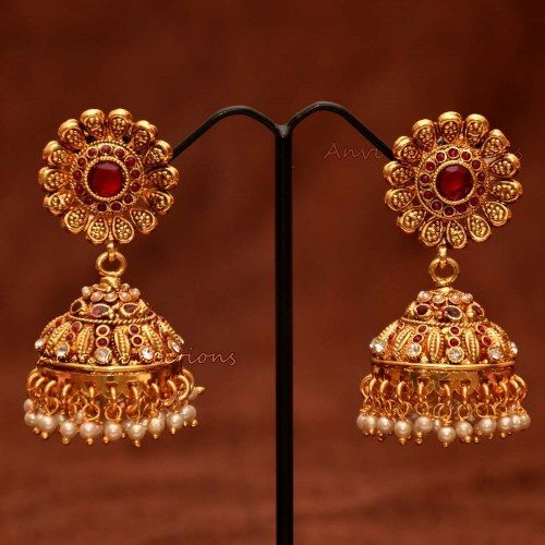 South Indian Jewellery Designs For Brides To Look Drop: Anvis Bridal Pearl And Rubies Floral Jhumkas