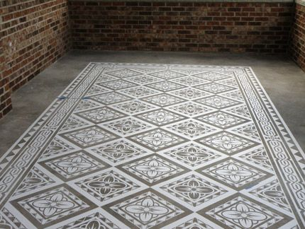 Modello Concrete Carpets Floor Stencils Paint Pattern Painted Concrete Floors Concrete Floors Stenciled Floor