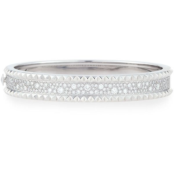 Roberto Coin ROCK & DIAMONDS Slim 18K White Gold Bangle Bracelet 2jKuBEThc