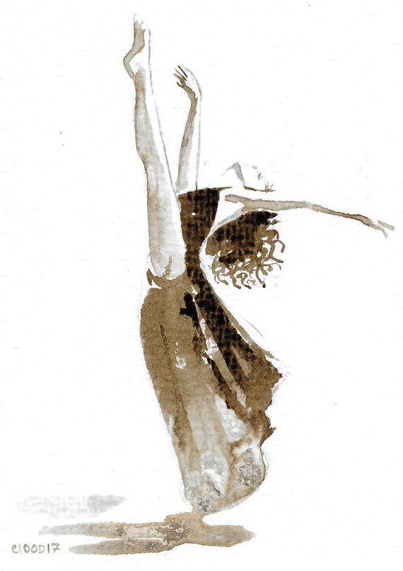 Esmeralda dance  Original Ink walnut stain sketch by C100D17