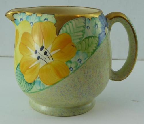 STUNNING ART DECO GRAYS JUG YELLOW/BLUE FLOWERS in Pottery, Porcelain & Glass, Pottery, Gray's | eBay