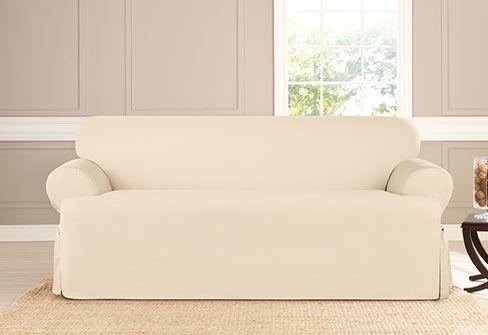 Heavyweight Cotton Duck One Piece Sofa Slipcover 100 Cotton