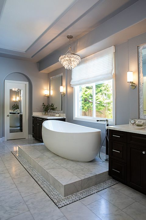 Carrara Marble Master Bathroom  Raised Tub Separate Vanities New San Diego Bathroom Design Review
