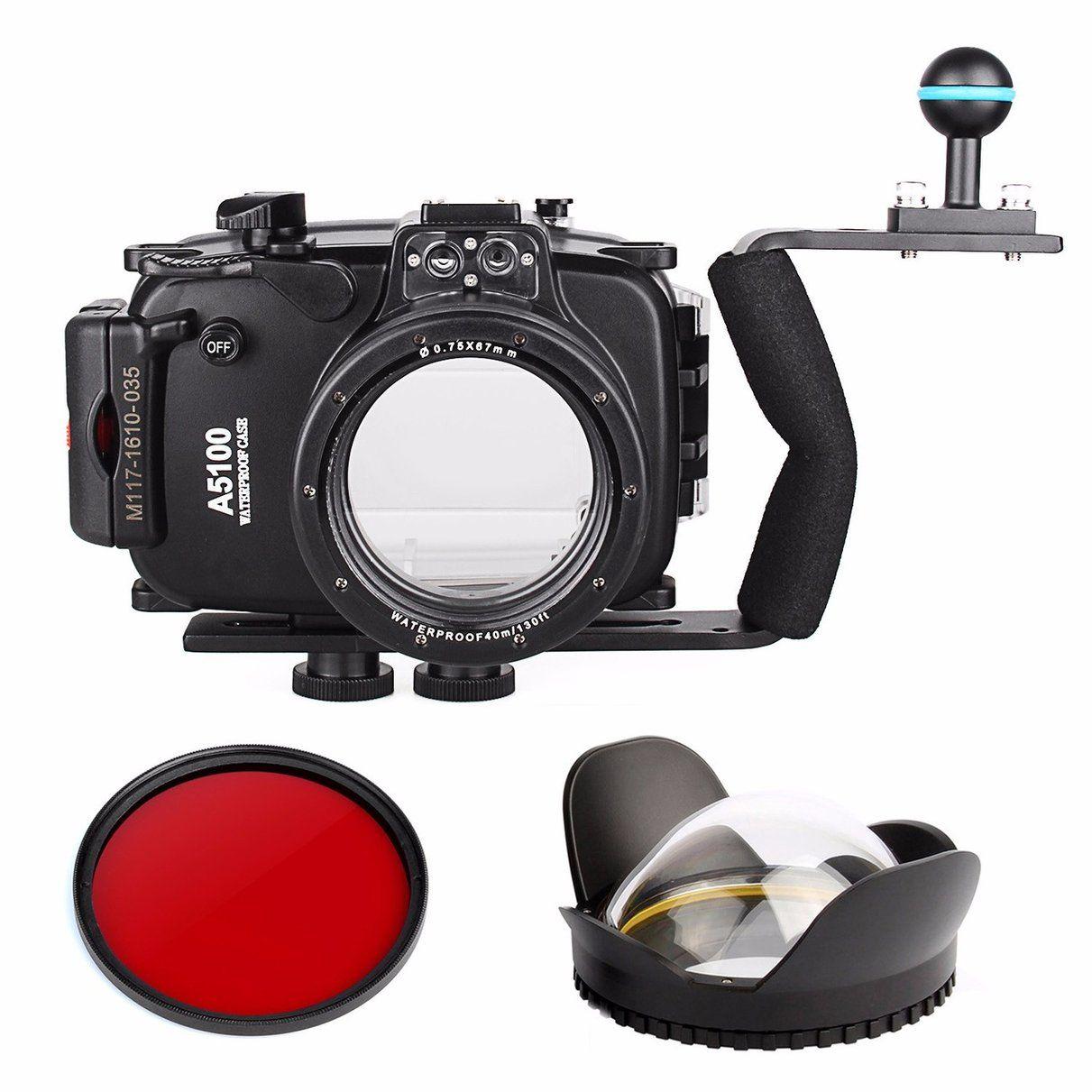 40m 130ft Waterproof Underwater Camera Housing Case Bag For Sony A5100 16 50mm Lens Diving Handle Underwater Camera Housing Diving Camera Underwater Camera