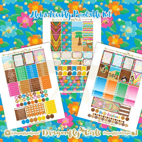 New!! Aloha Planner Stickers | 3 Page Weekly Kit | pdf 3 jpeg Erin Condren Life Planner Filofax MAMBI Color Crush Websters