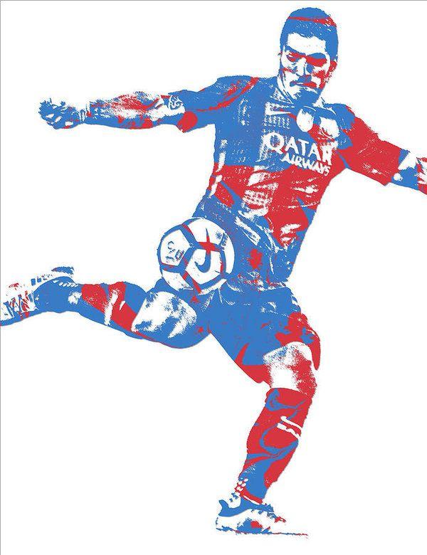 Luis Suarez F C Barcelona Pixel Art 4 Art Print By Joe