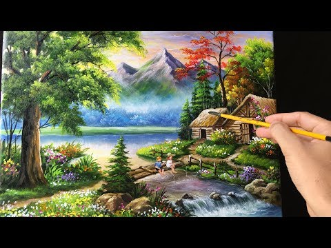 292 Painting A Beautiful Mountain Landscape With Acrylics Youtube In 2020 Mountain Landscape Landscape Paintings Landscape Painting Techniques