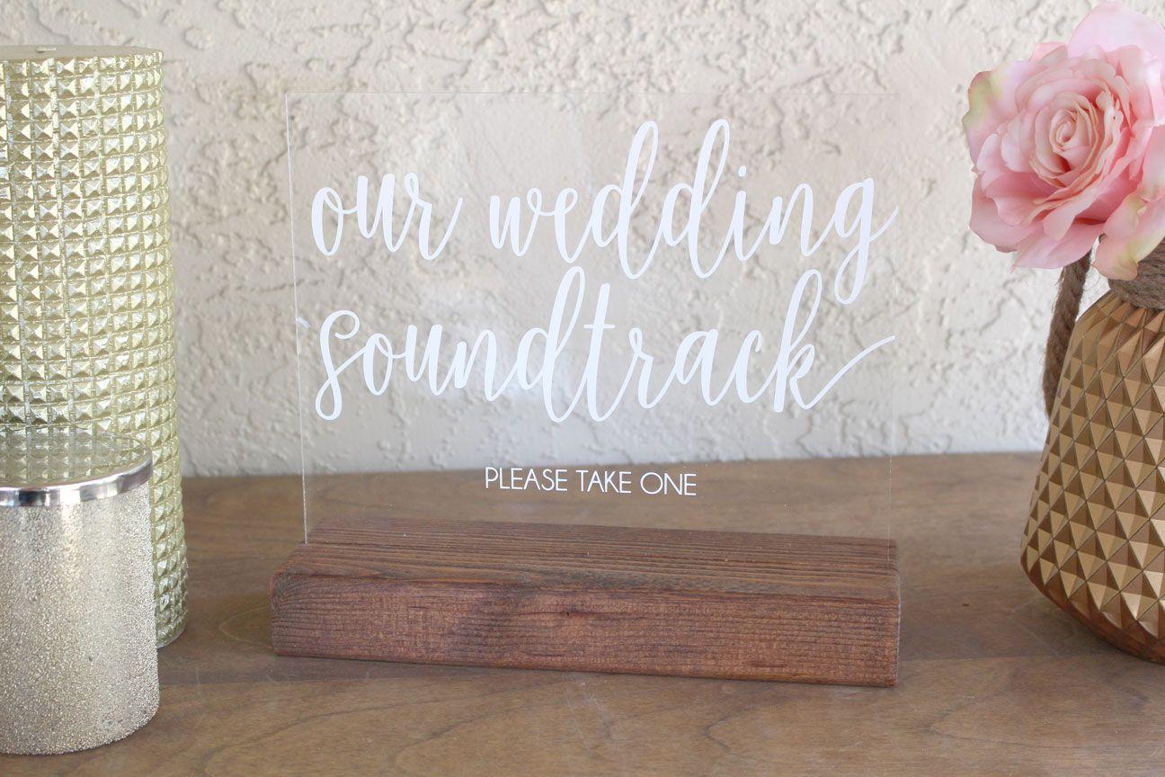 Wedding Soundtrack CD Favor Acrylic Sign | Wedding music, Soundtrack ...