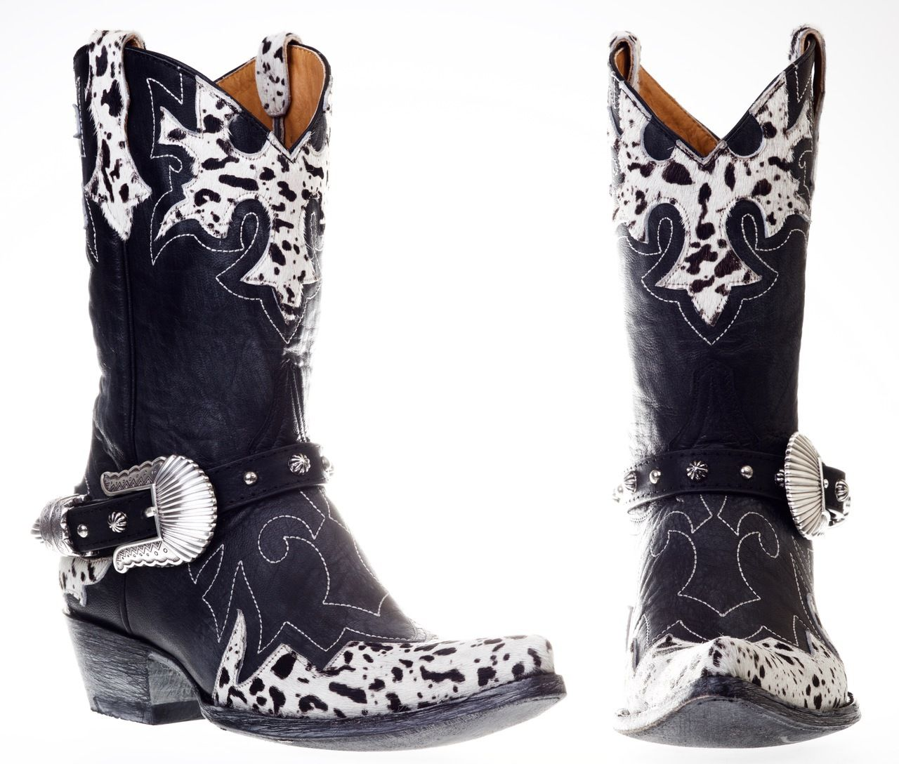 Black and White Hair On Cowboy Boots