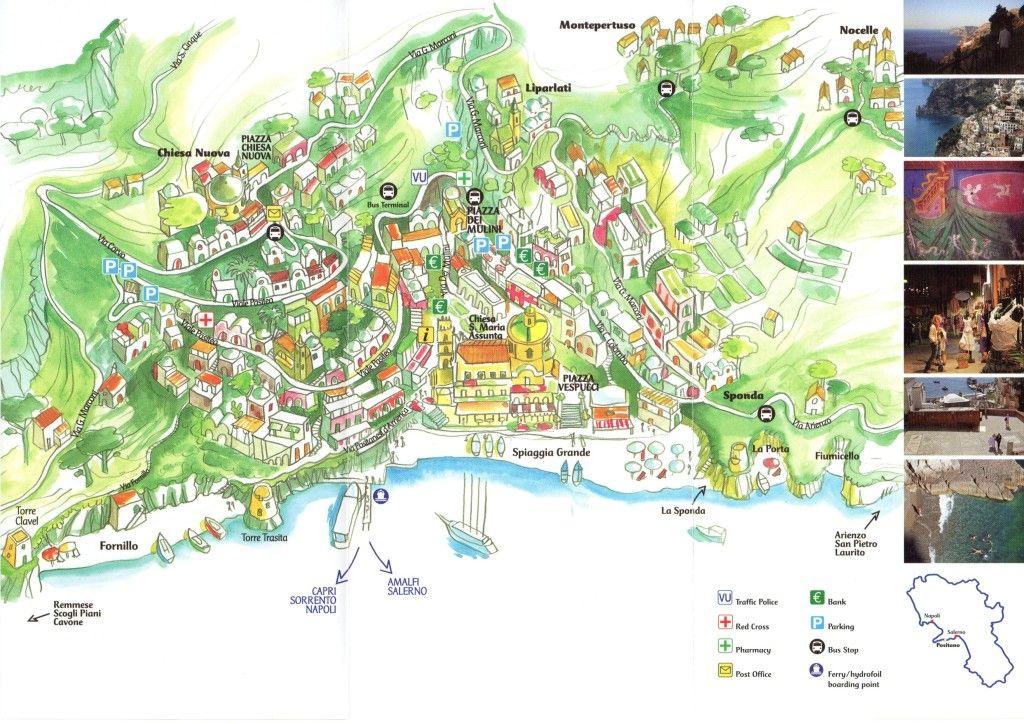 positanoitalymap Europe Pinterest Positano italy Positano