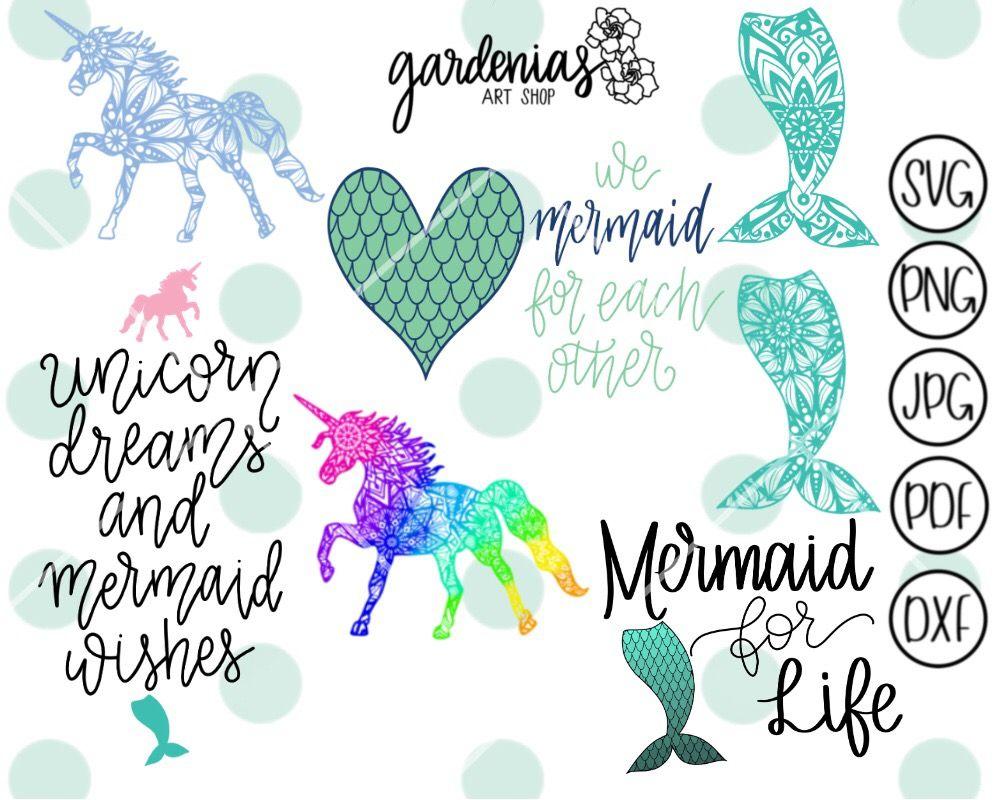 Download Mermaid and Unicorn Mini Bundle   Mermaid svg, Unicorn ...
