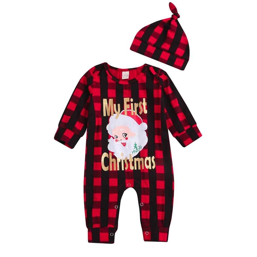 Hat Xmas Clothes Set puseky Baby Boys My First Christmas Outfit Stripe Long Sleeve Romper Pants