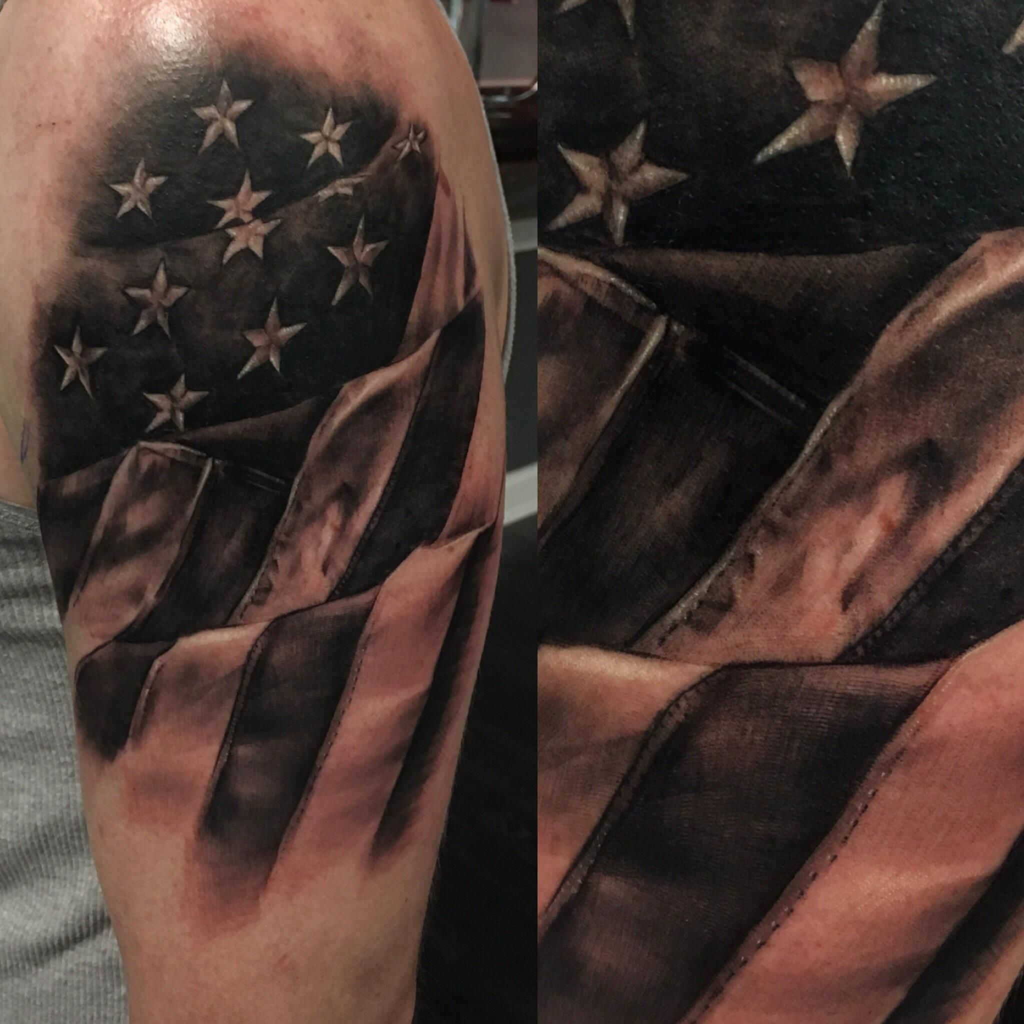 Flagdetails by apprentice andi victoria at karma theory tattoo in