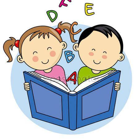 Baixar - Crianças lendo um livro — Ilustração de Stock