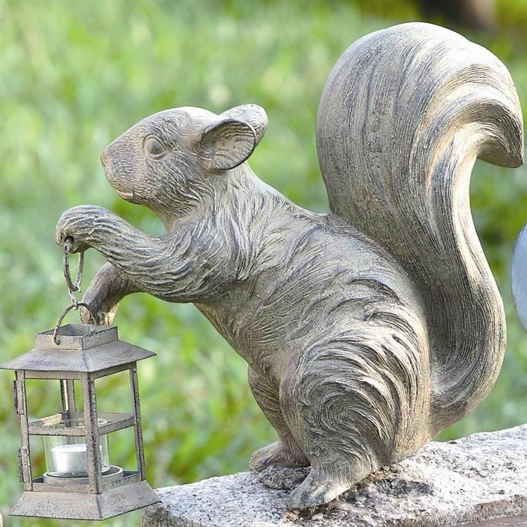 Squirrel Garden Candle Holder Lantern Metal Statue Sculpture,12u0027u0027H.  #Unbranded