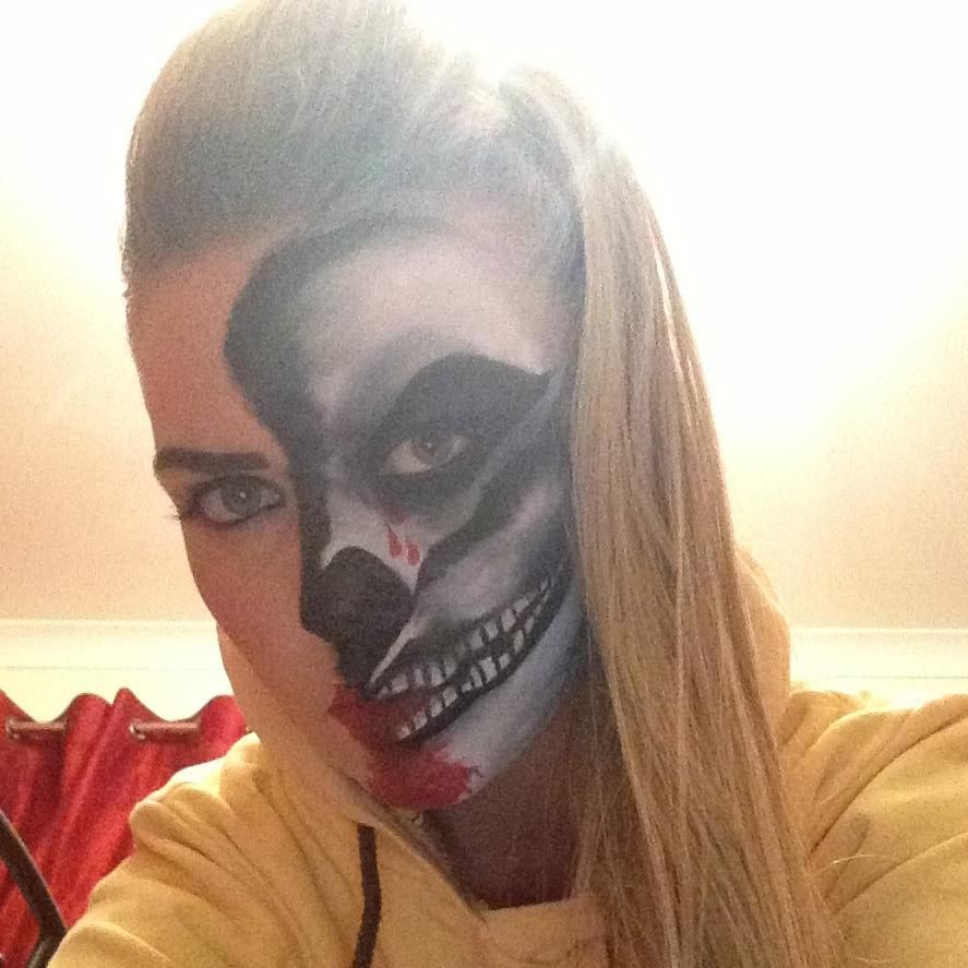 My 1st attempt at face painting! Skull face Halloween 2013!