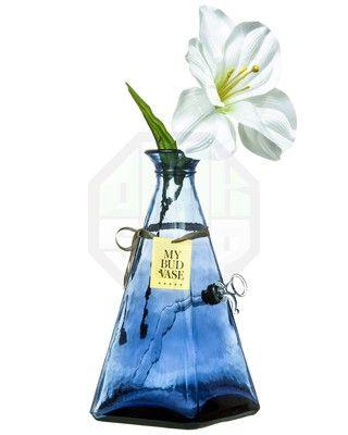 cf8cd195e0 Amazing Blue Flower Vase Bong Pipe. Love flowers white Lilly blue glass  bong pipe