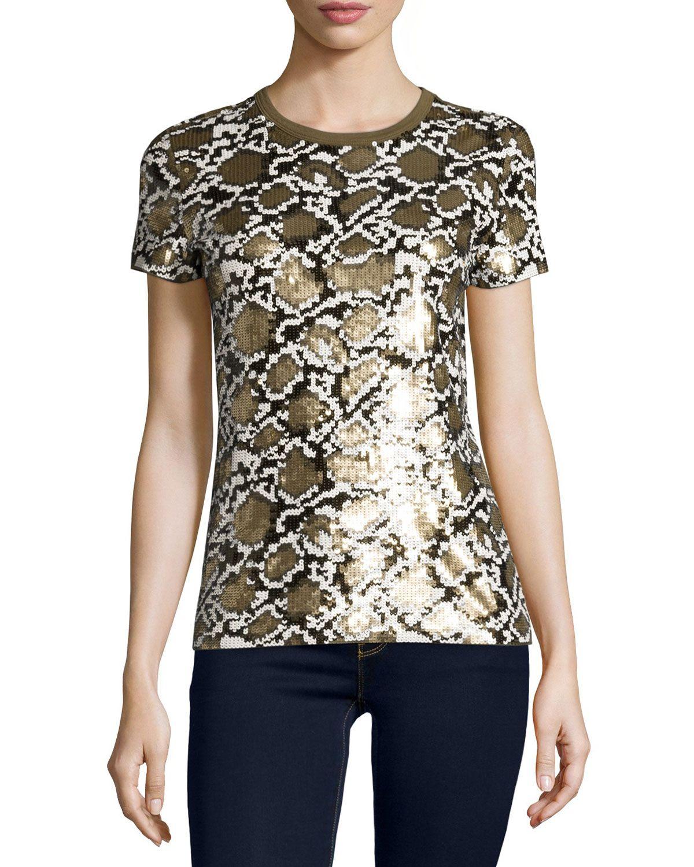 Short-Sleeve Sequined Snake-Patterned Top