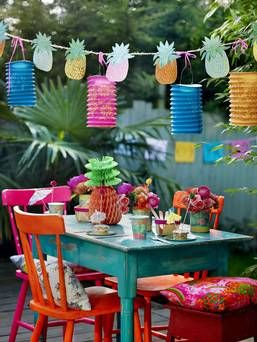 Lets Go Outside: Great ideas for throwing outdoor parties! One of them is to spray paint an old set of table and chairs in bright fun colors using Rust-Oleum Ultra Cover 2x http://www.rustoleum.com/Rustoleum/product-catalog/consumer-brands/painters-touch-ultra-cover-2x . See more great ideas on this page.